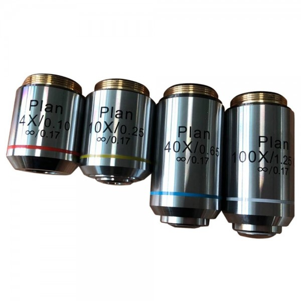 Набор планарных объективов Levenhuk MED 1000 4x, 10x, 40xs, 100xs (масляный) представитель Levenhuk в России